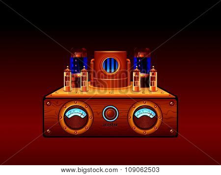 Abstract steampunk vacuum tube stereo amplifier