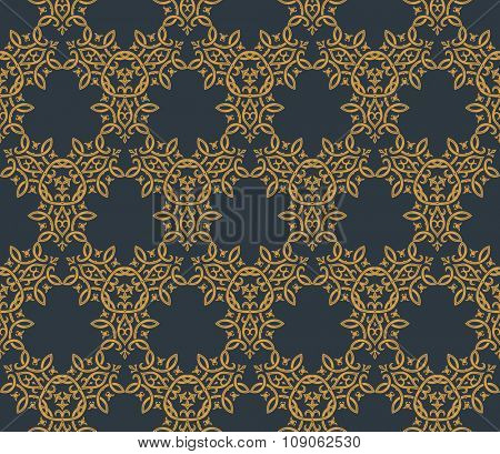 Seamless background in Arabic style. Gold, black wallpaper with patterns for design. Traditional oriental decor
