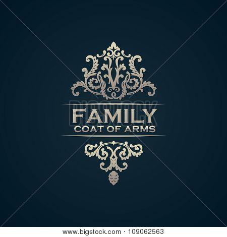 Vintage luxury emblem. Elegant Calligraphic pattern on vector logo. Black and white monogram. Family