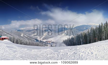 Mountain Slope At Winter Time