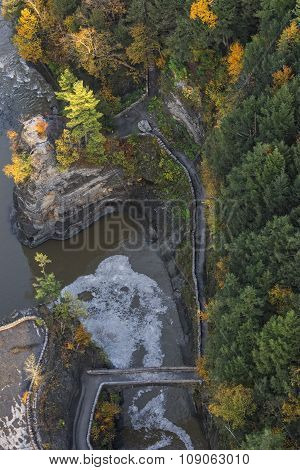 Aerial View Of The Crossing Bridge At Letchworth State Park