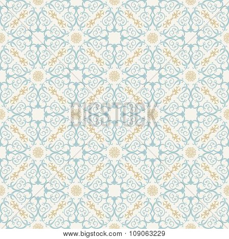 Seamless background in Arabic style. Gold and blue wallpaper with patterns for design. Traditional oriental decor
