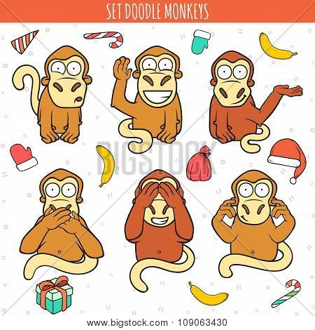 Year of red monkey. Doodle set monkeys. Chinese horoscope