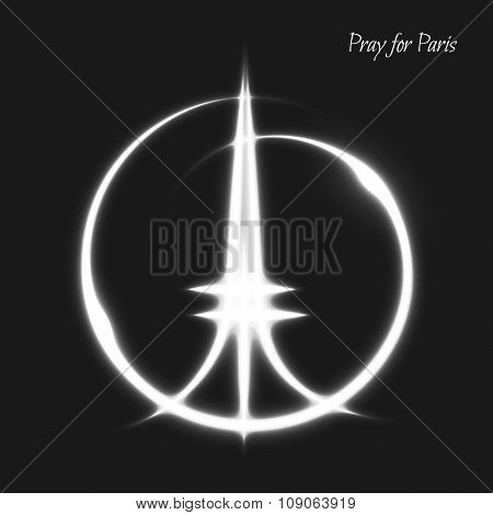 Pray for Paris. Peace. White lighting effects