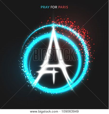 Pray for Paris. Peace. Lighting effects in flag colors