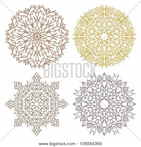 Set Of Four Desert Color Lacy Mandalas