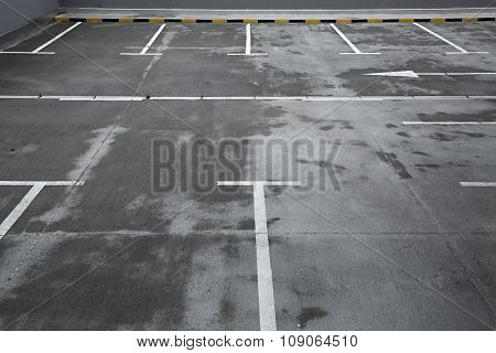 Empty places in a parking lot