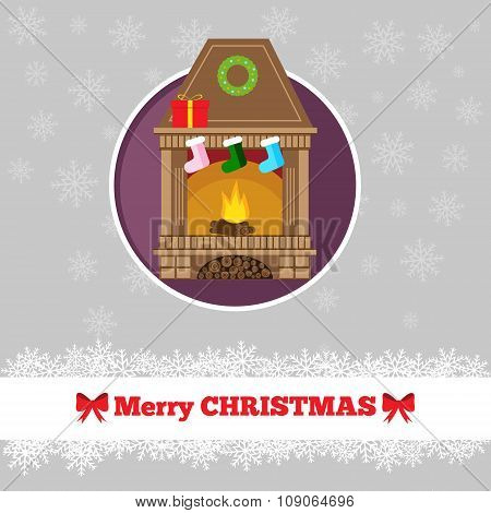 Christmas Card Template With Fireplace