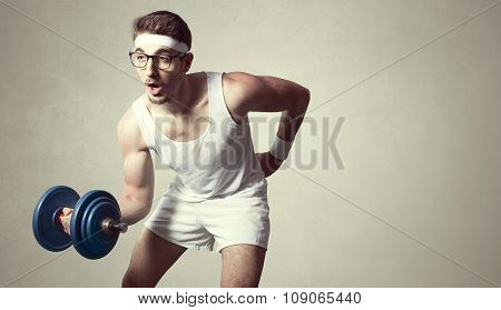 young nerd try to lift weights