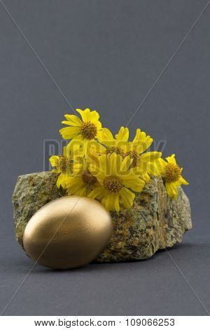 Gold Nest Egg In Front Of Natural Rock And Yellow Flowers