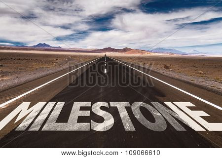 Milestone written on desert road
