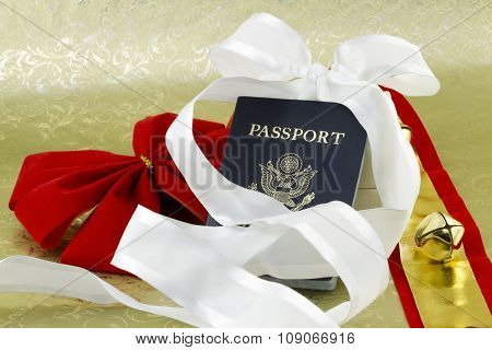 Bell And Ribbons With Holiday Travel Passport