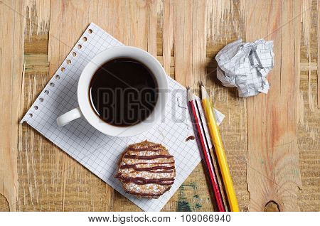 Coffee With Cookie, Paper And Pencil