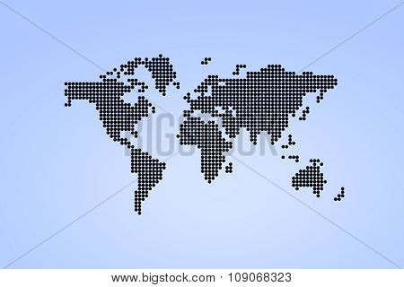 Black Dotted World Map.