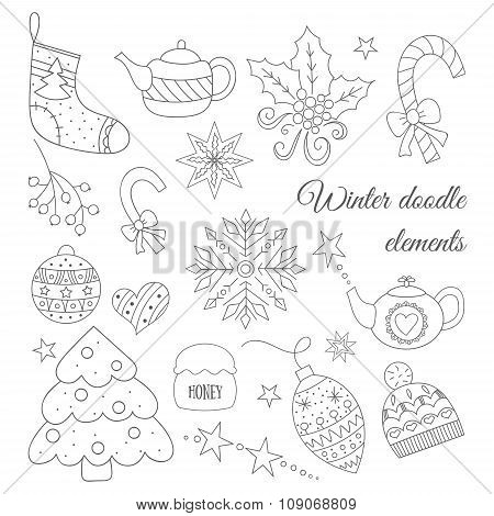Winter Doodle Elements Set