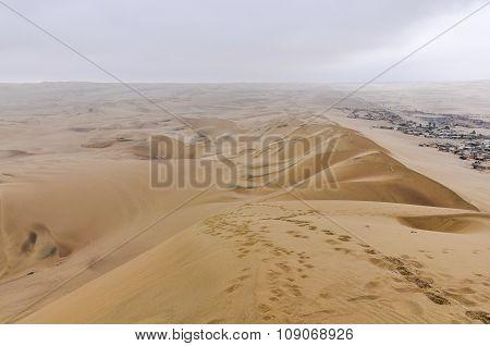 Village On The Border Of The Huacachina Desert, Peru