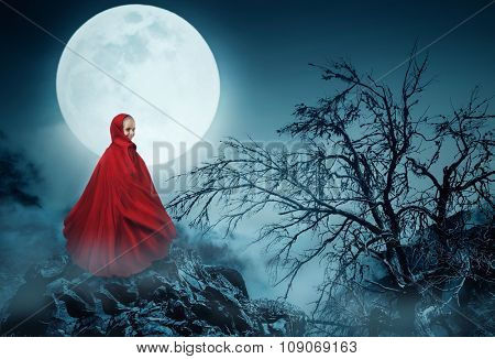 Little girl in a red gown over the moon in the night