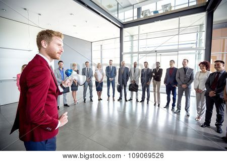 Young businessman hold corporation meeting