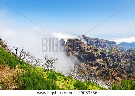 Beautiful mountains high in clouds, Portugal, Madeira