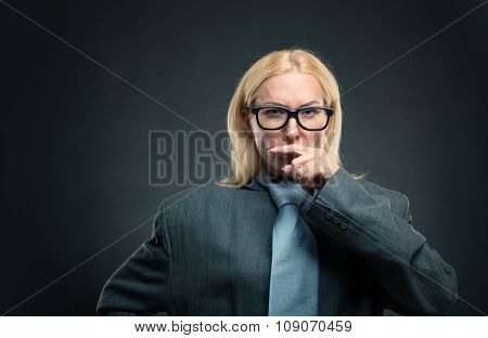 Funny nerd businesswoman in glasses