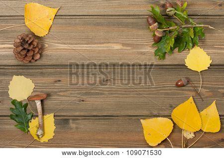 Oak Acorns, Pine Cone, Autumn Leaves, Wild Mushroom. Wooden Tabl
