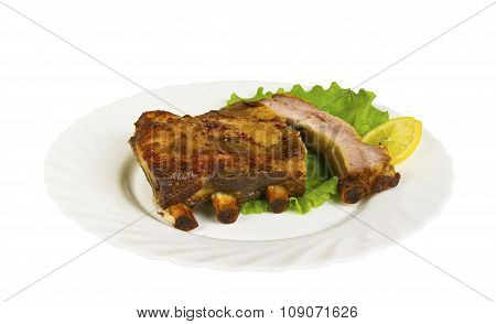 The Ribs Of Wild Boar Grill On The Plate, Isolated