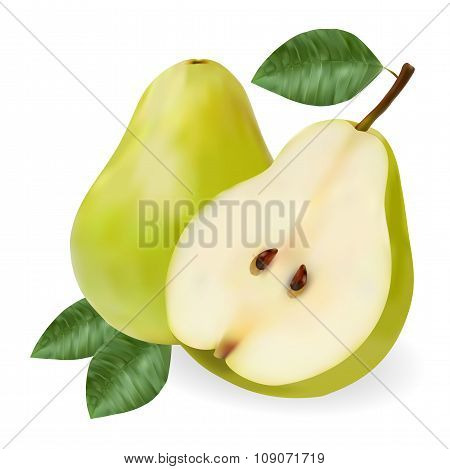 Green Ripe Pear With A Leaf And A Half