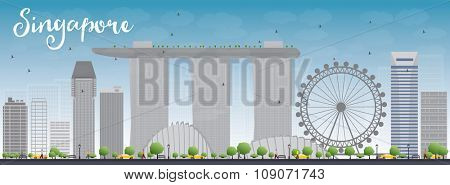 Singapore skyline with grey landmarks and blue sky. Business travel and tourism concept with modern buildings. Image for presentation, banner, placard and web site.
