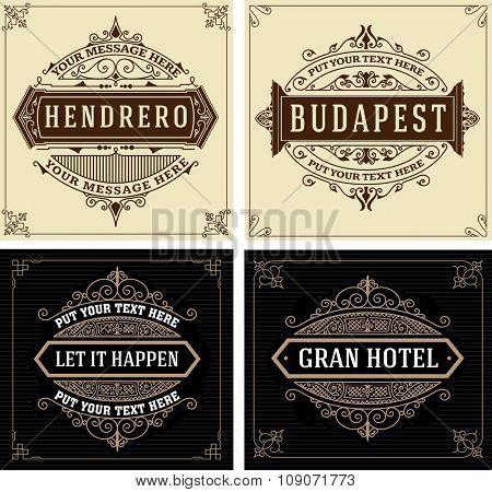 Vintage logo templates, Hotel, Restaurant, Business or Boutique Identity. Design with Flourishes Elegant Design Elements