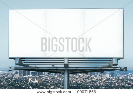 Blank Billboard At Megapolis City View Backgound, Mock Up