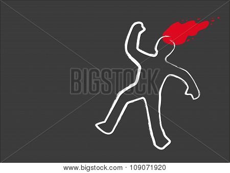 Chalk Drawing line and a blood splat of a Murder Victim. Editable Clip Art.