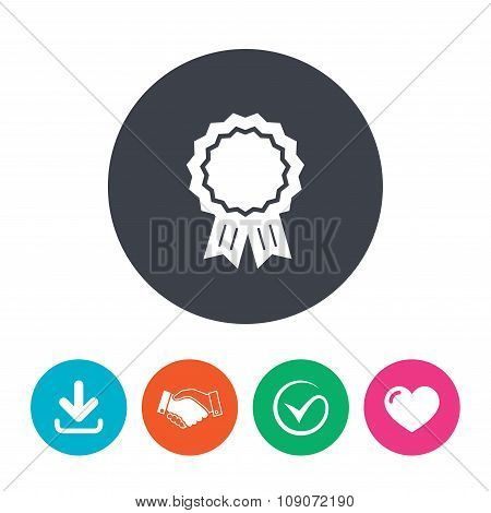 Award medal icon. Best guarantee symbol.
