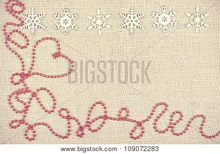 Retro Style Christmas Background On Jute Texture