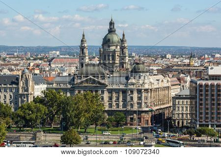 BUDAPEST, HUNGARY - CIRCA SEP, 2015: View on the Buda side of the historic centre of Budapest. Pest panorama of the Danube - UNESCO world heritage site.