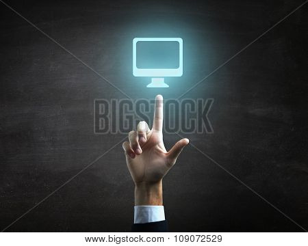 beautiful Business male hand indicating mac icon