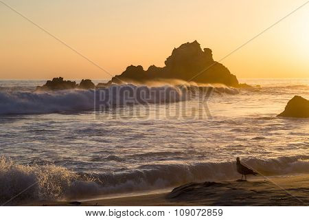 Sunset At The Beach At Pfeiffer State Park, Big Sur, California