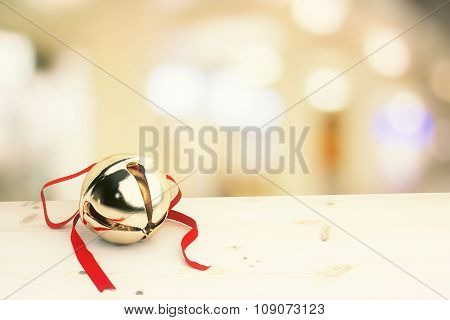 Christmas Concept Jingle Bell With Red Ribbon