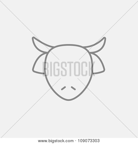 Cow head line icon for web, mobile and infographics. Vector dark grey icon isolated on light grey background.