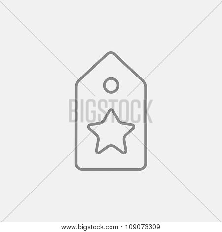 Tag with star line icon for web, mobile and infographics. Vector dark grey icon isolated on light grey background.