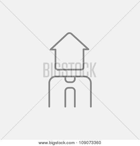Real estate agent line icon for web, mobile and infographics. Vector dark grey icon isolated on light grey background.
