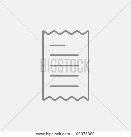 Receipt line icon for web, mobile and infographics. Vector dark grey icon isolated on light grey background.