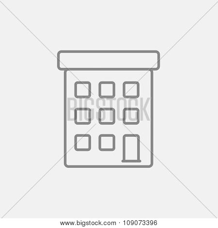 Condominium building line icon for web, mobile and infographics. Vector dark grey icon isolated on light grey background.