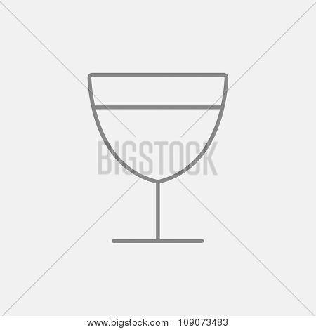 Glass of wine line icon for web, mobile and infographics. Vector dark grey icon isolated on light grey background.