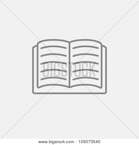 Open book line icon for web, mobile and infographics. Vector dark grey icon isolated on light grey background.