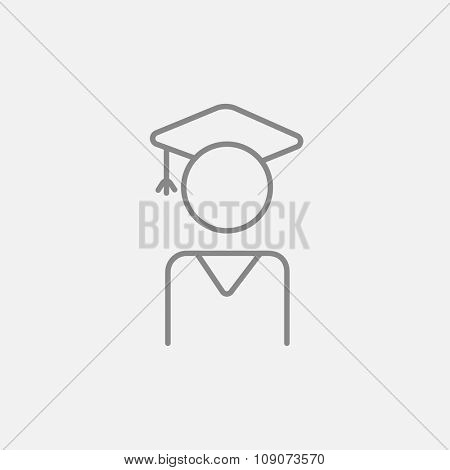 Graduate line icon for web, mobile and infographics. Vector dark grey icon isolated on light grey background.