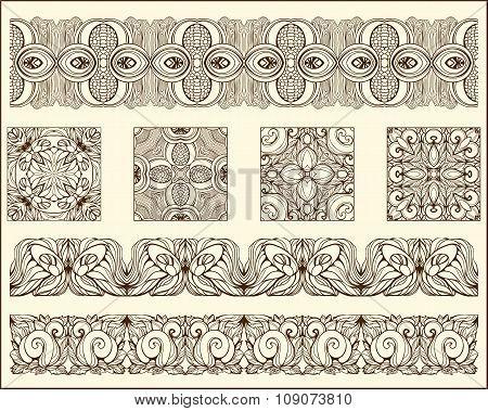 monochrrome floral patterns blocks and stripes