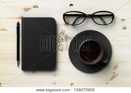 Black Blank Diary Cover, Black Cup Of Coffee And Glasses On Wooden Table, Mock Up