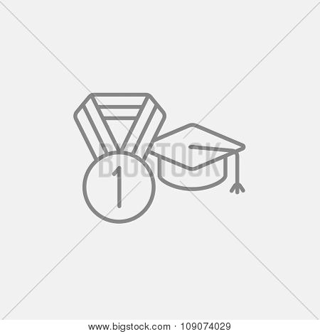 Graduation cap with medal line icon for web, mobile and infographics. Vector dark grey icon isolated on light grey background.