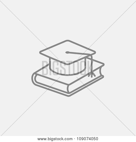 Graduation cap laying on book line icon for web, mobile and infographics. Vector dark grey icon isolated on light grey background.