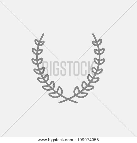 Laurel wreath line icon for web, mobile and infographics. Vector dark grey icon isolated on light grey background.